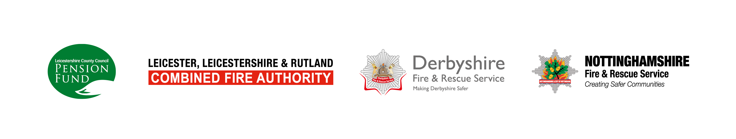 The logos of Leicestershire County Council Pension Fund, Leicester, Leicestershire and Rutland Combined Fire Authority, Derbyshire Fire and Rescue Service and Nottinghamshire Fire and Rescue Service.